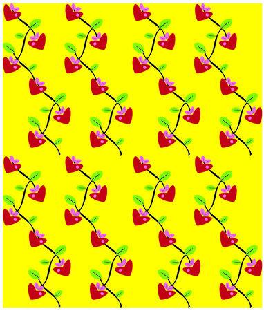 Flowers love heart background seamless pattern