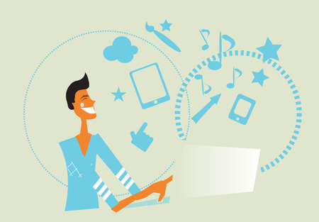 Business man with laptop cartoon vector illustration