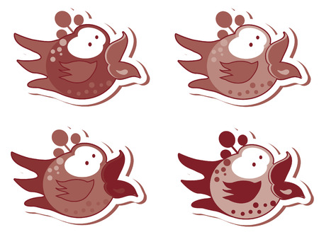 Set of different cute birds stickers emblems Stock Photo