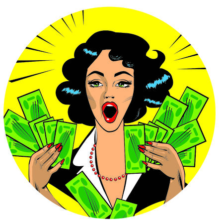 Clipart Illustration of a Retro Woman Holding Handfulls Of Cash and shocked