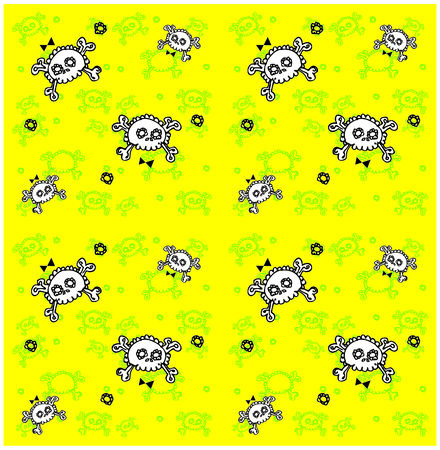 skulls seamless pattern. Lots of sculls with comic texture, graphic stylized  silhouettes, vector background