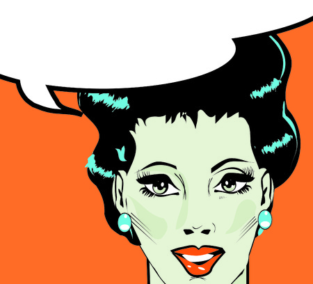 Vector illustration of woman in a pop artcomic style.