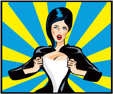 Pop Art Comic book sexy woman Under Cover, comic book style. Add your logo on the shirt. Colors are very easy to change. No transparency and gradients used.