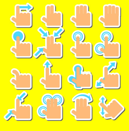 Touch Pad Gestures hands icons set