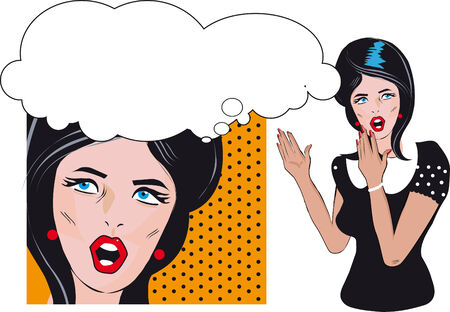 Surprised woman talking or thinking banner background with text area