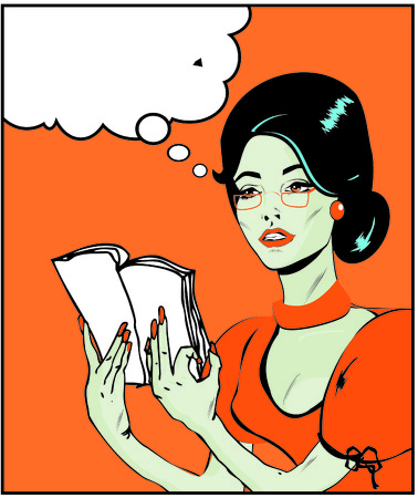 Teacher or business woman Illustration of a woman reading in a pop artcomic style