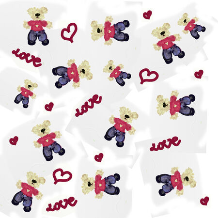 love Bears background seamless pattern of a toy teddy bear  Stock Photo