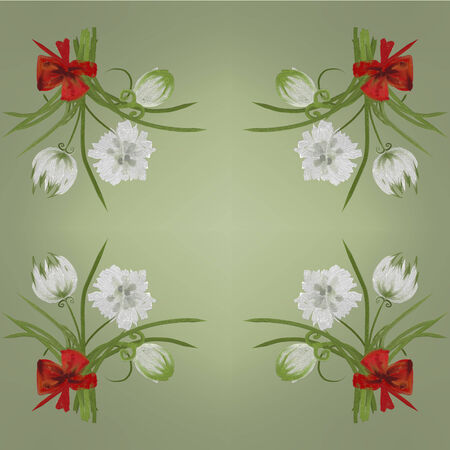 Retro white flower card background Hand Draw photo