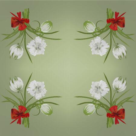 Retro white flower card background Hand Draw Stock Photo
