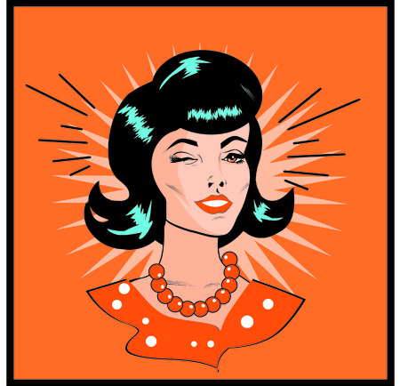Retro Woman Winking - Retro Clip Art