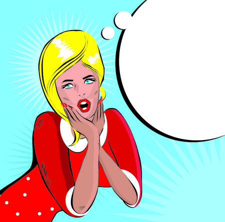 Comic Love Vector illustration of surprised woman face  Stock Photo