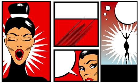 Pop art Comic Book Style Banners with beautiful woman in black blouse  yawning  stretching and talking Stock Photo