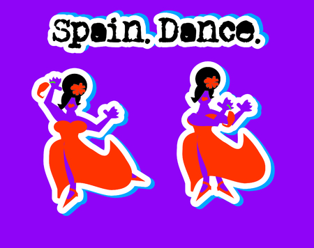 spanish woman: Spanish Woman in Red Dress Dancing Icons Set