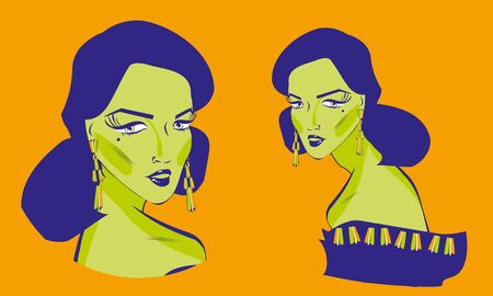 lass: Girl. Vector retro styled illustration