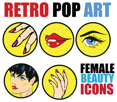 nails art: Pop Art Web site Icons Set - Beauty Woman Hand Nails Hair Face Lips Eyes Health Care and Cosmetic Signs Templates