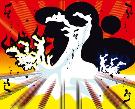 fission: pop art explosion over boom background. vector illustration Stock Photo