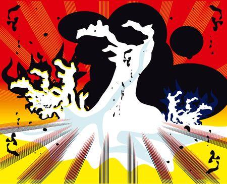 nuke: pop art explosion over boom background. vector illustration Stock Photo
