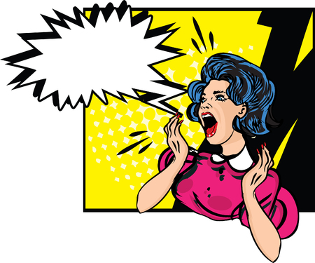 expressing negativity: Desperate woman - retro clip art  Illustration