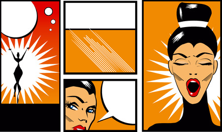 yawning: Pop art Comic Book Style Banners with beautiful woman in black blouse  yawning  stretching and talking Stock Photo