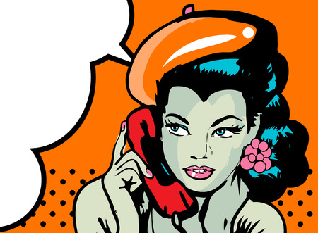gals: retro woman in chat by phone retro background or banner