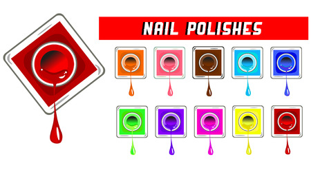 nail bar: Vector Nail polishes illustration isolated on white
