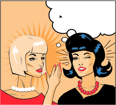 denunciation: informer Clipart Illustration of Two Gossiping Retro Women banner