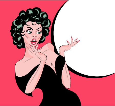 woman looking up: Pin up vintage anguished woman Illustration