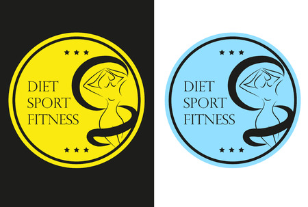 sexual anatomy: Icons set sticker or emblem of a woman silhouette measuring her waist Diet Sport Fitness