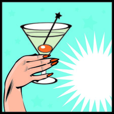 coctail: Vintage background Coctail with hand - pop art comic style