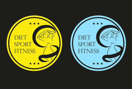 profile measurement: Icons set sticker or emblem of a woman silhouette measuring her waist Diet Sport Fitness