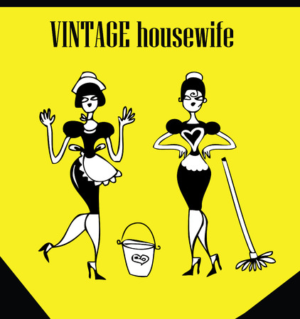 40s: Vintage Clip Art set Happy Fashion woman icon doodley tattoo housewife Stock Photo