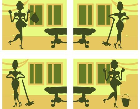 homemakers: Silhouette Helpful Housewife background