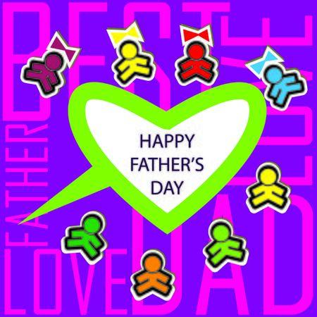 fatherhood: Dads kids love card background invitation Stock Photo