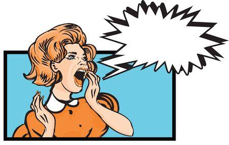 expressing negativity: Scared woman - retro clip art Illustration