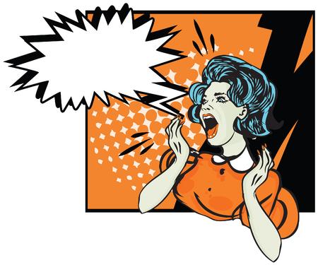 Desperate woman - retro clip art  Illustration