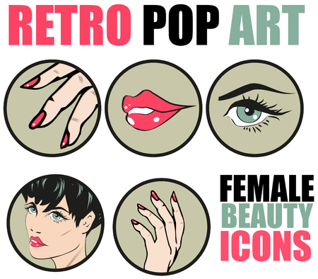 make up applying: Pop Art Web site Icons Set - Beauty Woman Hand Nails Hair Face Lips Eyes Health Care and Cosmetic Signs Templates