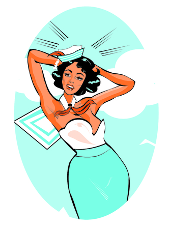 stock clip art: Vector Clip Art Illustration of a Sexy Female Sailor Pinup retro poster
