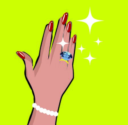 royal family: Female hand with wedding ring love background in pop art comic style Stock Photo