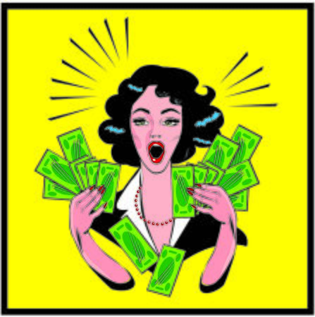 renders: Clipart Illustration of a Retro Woman Holding Handfulls Of Cash and shocked