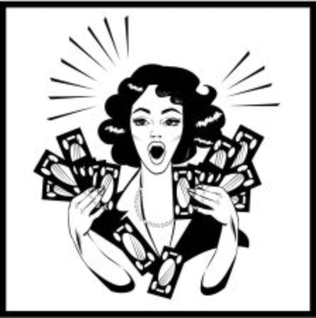 accounting logo: Clipart Illustration of a Retro Woman Holding Handfulls Of Cash and shocked