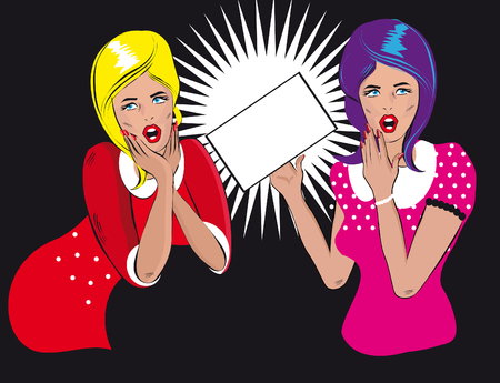 two persons only: Two people talking woman hold a blank Retro Background pop art comics style women said, woman listening to gossip