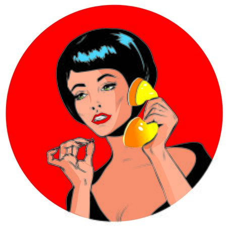 homemakers: Lady Chatting On The Phone - Retro Clip Art vintage collection Stock Photo