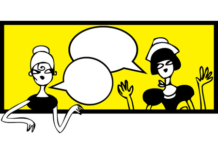 gals: Comics talking doodles banner. Female meeting and talking sticker