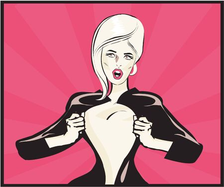open shirt: Pop Art Comic book sexy woman Under Cover, comic book style. Add your logo on the shirt. Colors are very easy to change. No transparency and gradients used.