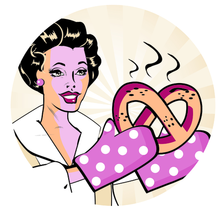 homemakers: retro woman with hot batch  Retro Lady Cooking  Retro Clip Art