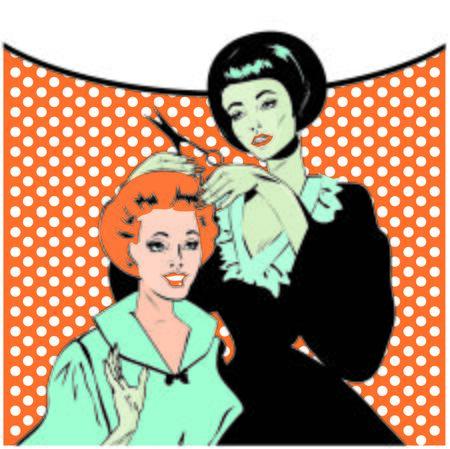gals: Vintage retro woman Hairdressing - Retro poster