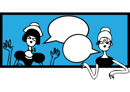 clipart speaker: Comics talking doodles banner. Female meeting and talking sticker