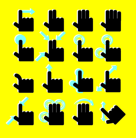 touch pad: Touch Pad Gestures hands icons set