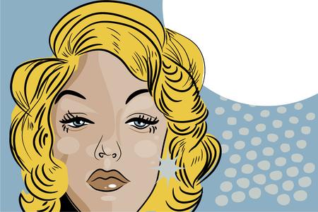 desprecio: mujer triste beaitiful la cara del estilo cómico del tatuaje retro rubio Foto de archivo