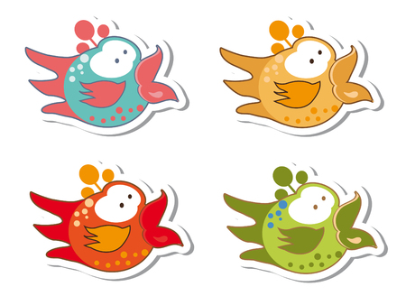 droll: Set of different cute birds stickers emblems Stock Photo